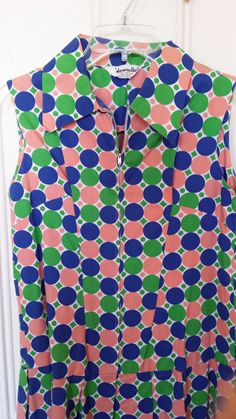 1960s Mod Culottes dress with colorful retro print by MoonMossRock