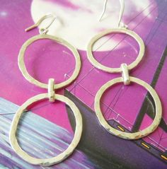 Hammered Sterling Silver Hoops Double Circle by MaroonedJewelry, $40.00