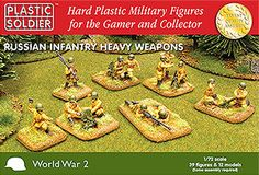Plastic Soldier Company Ltd  PSC WW2 020004 WWII Russian Heavy Weapons...  39 hard plastic 1/72 scale miniatures and 12 models depicting WW2 Russian infantry heavy weapons as follows:  3 maxim teams firing  3 maxim teams moving   3 x 50mm mortar teams  3 x 82mm mortar teams  3 firing PTRS anti tank rifles  3 moving PTRS anti tank rifles