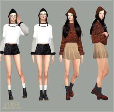 SIMS4 marigold: Knit Cone Beanie_unisex_니트 뾰족 비니_남녀 공용 모자