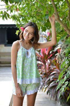SALE - Short Frill Set - Coral Lime Cotton - Pajama Set - Code: P006 & P074 (B)