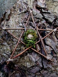 Handmade Positively Pagan Green Man / Herne the Horned God & Pentagram. Natural Altar pentagram / Wall Hanging