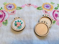 2 mini embroidery hoops for pendants/frames by TeenytinyVintage