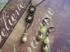 Upcycled Vintage Green Necklace and Earring by autumnraincreations, $40.00
