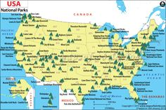 US National Parks Map - The World includes this great country too!  I'm proud to say that my parents took us to so many of the National Parks when we were kids and I've added to the list as a grown up.  Still more to see!