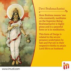 On the day of we bow to Maa Brahmacharini. May she shower us with her blessings and inspire us to do good deeds in service of society. Goddess Art, Durga Goddess, Hindu Deities, Hinduism, Durga Kali, Durga Images, Hindu Rituals, Happy Navratri, Divine Mother