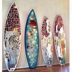 Handmade mirror art surfboards