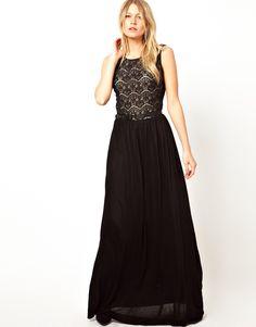 Mango | Mango Lace Belted Jersey Maxi Dress at ASOS