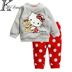 New hello kitty kid clothes baby girl clothing set long sleeve toddler cartoon pajamas set ensemble fille kinder kleidung