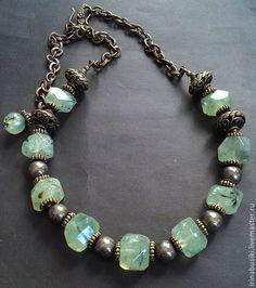 Купить бусы Пренит и Пирит - натуральные камни, Камни натуральные, подарок девушке, подарок женщине