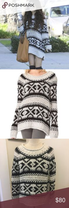 "Free People Silver Reed Fair Isle Sweater Free People 'Silver Reed' Oversized Sweater. As seen on Selena Gomez. Excellent condition.  A soft geometric pattern flows across this slouchy, open-knit sweater. Long raglan sleeves add a cozy touch to the casual silhouette, and rolled, ribbed banding curls along the edges. Length 24"", Bust 21"" Free People Sweaters Crew & Scoop Necks"