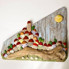 "227 Likes, 12 Comments - Bricioledimare (@armariannamaria52) on Instagram: ""#villaggio #village on #driftwood #driftwoodart #painter #paintingstones #pebbleart #handmade…"""