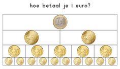 Juf Inger: hoe betaal je 1 euro? Second Grade Math, Math Classroom, Classroom Ideas, School Fun, Teaching Math, Math Activities, Coins, Learning, Raha