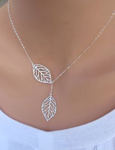 Two Delicate Leaves lariat necklace. Bridal. by RoyalGoldGifts, $24.00
