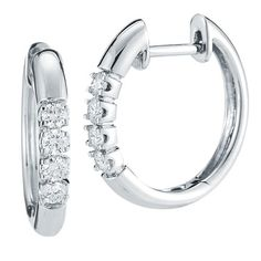 Round Brilliant 0.34 ctw VS2 Clarity, I Color Diamond 14kt White Gold Hoop Earrings