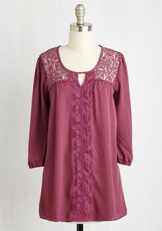 Graceful and Tasteful Top. Your style savvy always guides you to make charming choices - like donning this cranberry-colored blouse! #purple #modcloth
