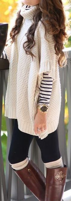 Layered Sweater Looks! Beige Hollow-out Short Sleeve Cape Knit Sweater #Layered #Sweater #Fashion