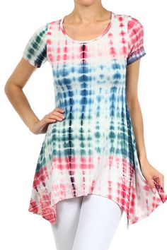 PLUS SIZE SHORT SLEEVE MULTI COLOR TIE DYE FLOWY TUNIC TOP BLOUSE 1X 2X 3X #AllAboutTheGirl #Tunic #Any