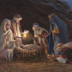 A beautiful painting of the wise men worshiping the King of kings!