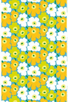 Pieni Unikko cotton fabric. Maija Isola's classic pattern was born in 1964 shortly after Armi Ratia had announced that Marimekko would never print a floral pattern. Maija paid no heed to Armi's decree and designed an entire collection of floral patterns in protest. One of them was Unikko, a true icon.
