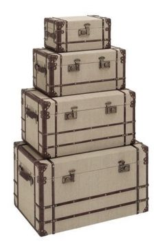 Expressive Metal Edwardian Steamer Trunk Boxes/chests