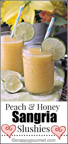 Peach & Honey Sangria Slushies, fun summer cocktail recipe! snappygourmet.com