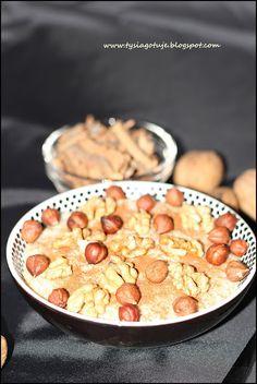 Cynamonowa owsianko manna z orzechami laskowymi i włoskimi   Tysia Gotuje