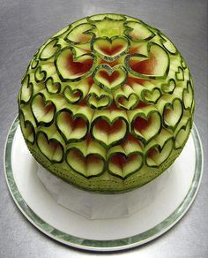 Carved Watermelon Hearts, would make a great center piece