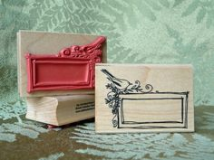 This is the most versatile little stamp. It can be used to make gift tags, or stamped in a book as a bookplate, a placecard at a dinner party, a