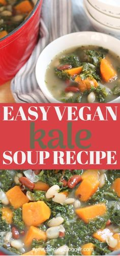 Healthy Kale Soup with Sweet Potatoes - a vegan soup recipe that is sure to please this season! Loaded with fresh kale sweet potatoes and kidney beans this soup will keep you feeling full longer. Kale Soup Recipes, Best Soup Recipes, Vegetable Soup Recipes, Vegetarian Recipes, Cooking Recipes, Chili Recipes, Recipes Dinner, Sweet Potato Soup, Vegetarian Cooking