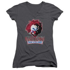 Killer Klowns From Outer Space/Rough Clown Junior V-Neck in Charcoal