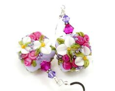 Hot Pink & Purple Floral Earrings, Lampwork Earrings, Glass Earrings, Glass Bead Earrings, Beadwork Earrings, Lampwork Jewelry