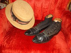 Edwardian  Incredible pair of Edwardian mens leather shoes....high button....a style populaur from 1910-12...  Straw boater hat......popular 1900-1925...in an unusual large size