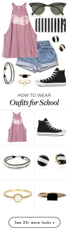 """Don't wanna go to school tomorrow"" by kk-purpleprincess on Polyvore featuring Kate Spade, RVCA, NOVICA, Ray-Ban, Converse, LUMO and Irene Neuwirth"