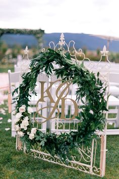 Monogram Garland Wreath by CoriCook.com