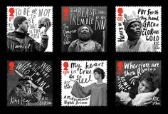 Royal Shakespeare Company commemorative stamps, by hat-trick design Postage Stamp Design, Postage Stamps, Shakespeare, Commemorative Stamps, Hand Drawn Type, Creative Review, Communication Art, Its Nice That, Graphic Design Typography