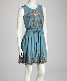 Take a look at this Dusty Blue Lace Dress by Ryu on #zulily today!