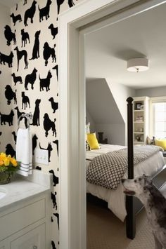 Dog silhouette wallpaper by Martha O'Hara Interiors.