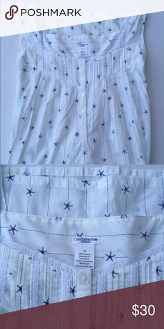 Croft & Barrow White w/Stars Nightgown. Size 1X. Perfect Christmas Gift!                                   BNWT Croft & Barrow Ladies Nightgown. White with purple/bluish stars, tank top style with lace at the top. 5 buttons (extra button included). 100% Cotton. Machine wash cold, with like colors and tumble dry on low. Please ask any questions before purchasing. REASONABLE OFFERS ALWAYS CONSIDEREDBUNDLE TO SAVE MORE Croft & Barrow Intimates & Sleepwear