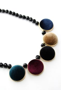 #Chicwish Velvet Round Gold Trim Beads Necklace in Multi Color - Accessory - Retro, Indie and Unique Fashion