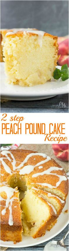 Two Step Fresh Peach Pound Cake Recipe is rich, moist and full of fresh, sweet peaches. Delish desserts. Serve this dessert with ice cream.