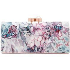 Ted Baker Arllo Illuminated Bloom Matinee Purse, Purple ($110) ❤ liked on Polyvore featuring bags, wallets, coin bag, genuine leather credit card holder wallet, purple wallet, floral print wallet and floral wallet