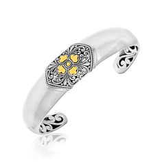 18K Yellow Gold & Sterling Silver Open Cuff with a Baroque Style Accent