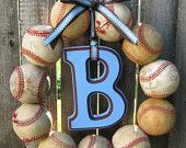 Baseball Love Wreath - With Letter. $40.00, via Etsy.