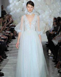 Mira Zwillinger Spring 2018 Wedding Dress Collection | Martha Stewart Weddings – Long-sleeve pastel blue wedding dress