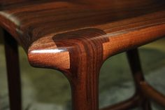 sculpted maloof joint in walnut - bar stool built by Paul Lemiski of Canadian Woodworks