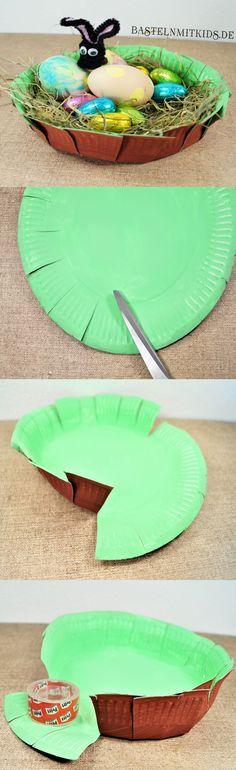 Einfaches und schnelles Osternest basteln nur aus einem Pappteller. Ideal für die Osternester im Kindergarten oder in der Kinderkrippe. Aber auch Zuhause macht es dem Osterhasen sicher Spaß die kleinen Nester zu befüllen und gut zu verstecken. - Basteln mit Kindern