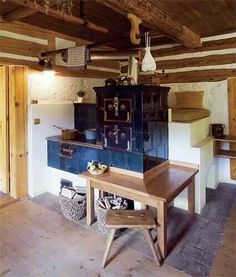 . Wood Stove Cooking, Kitchen Stove, Classic Fireplace, Small Log Cabin, Simply Home, Rustic Fireplaces, Rocket Stoves, Cottage Interiors, Wood Fired Oven
