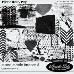 Mixed Media Brushes 5 CU digital scrapbooking commercial use tool by Jennifer Labre Designs