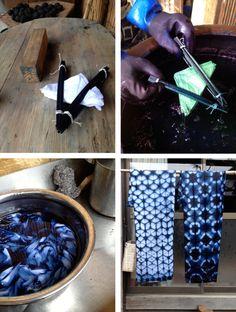 Shibori-dyed tea towels